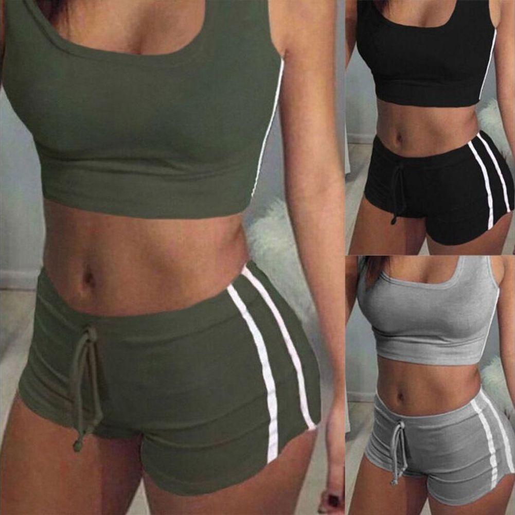 2PCS Women Striped Gym Tracksuit Vest Tops Elastic Short Pants Set Sport Gym