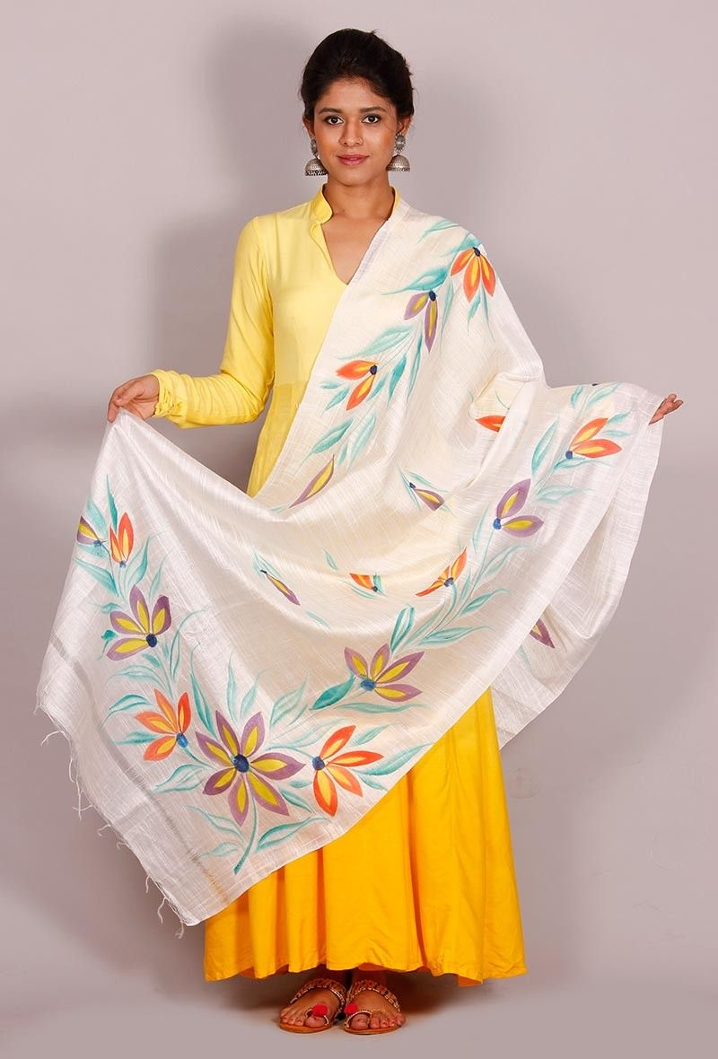Buy Online Tjoris Latest The Floral Story Cotton Silk Dupatta Hand Painted
