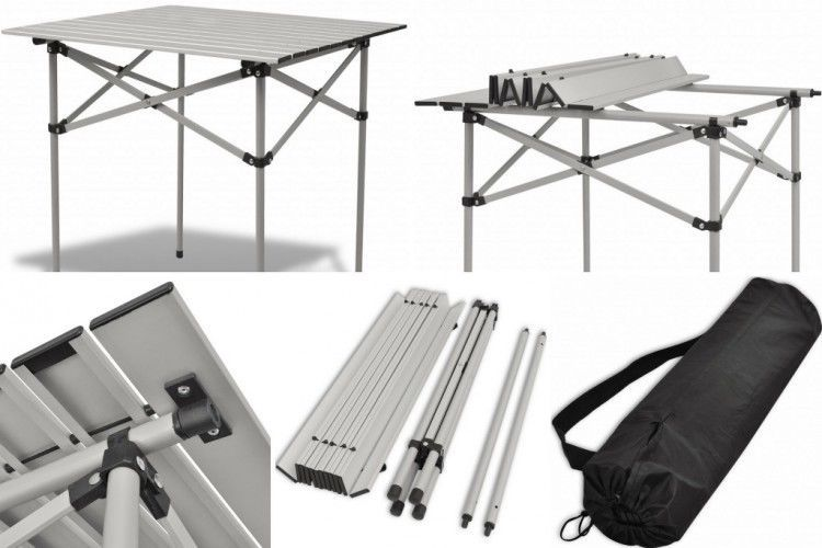 Roll Top Camping Table Picnic Beach Garden Steel Aluminium Folding Portable