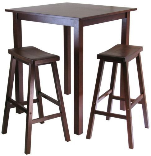 Square Pub Table 3-Piece Set 2 Saddle Stools Dinner Breakfast Kitchen Home Furniture Dining