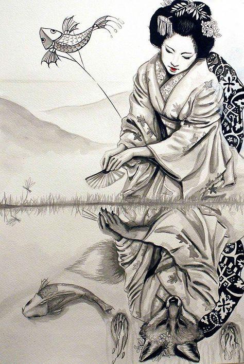 Ilustrador Dibujo Arte Asiático Arte Y Geisha