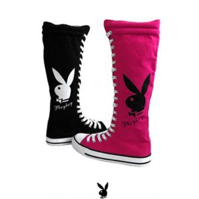 Amazon.com  Womens Knee High Canvas Sneakers Lace Up Playboy Bunny Boots  Black  cffd4c237