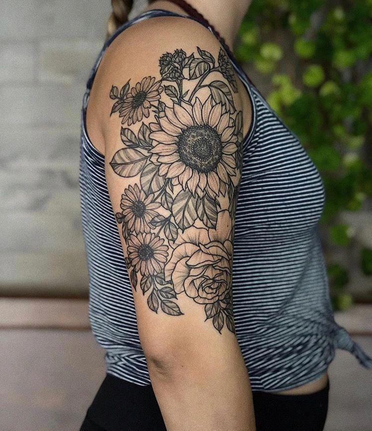 Half Sleeve Tattoo Template Halfsleevetattoos Sleeve Tattoos Sunflower Tattoos Half Sleeve Tattoo