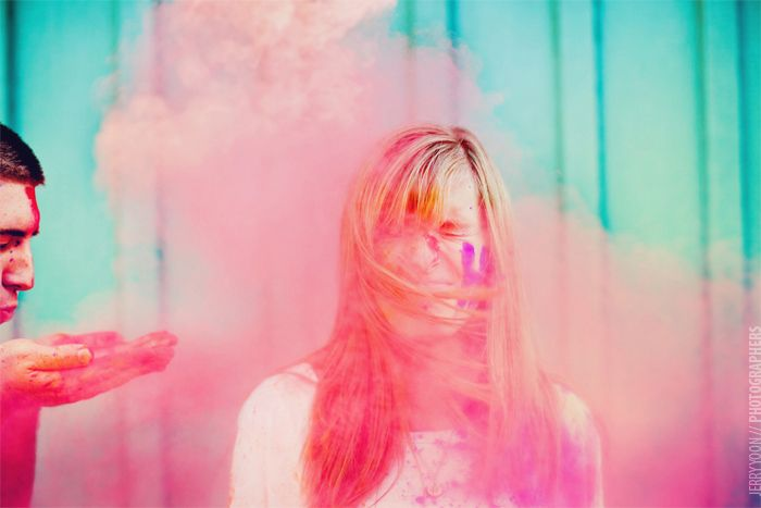 best engagement photos ever:: Fabulously Wed: Engagement: Holi Moly It's a Color Explosion!