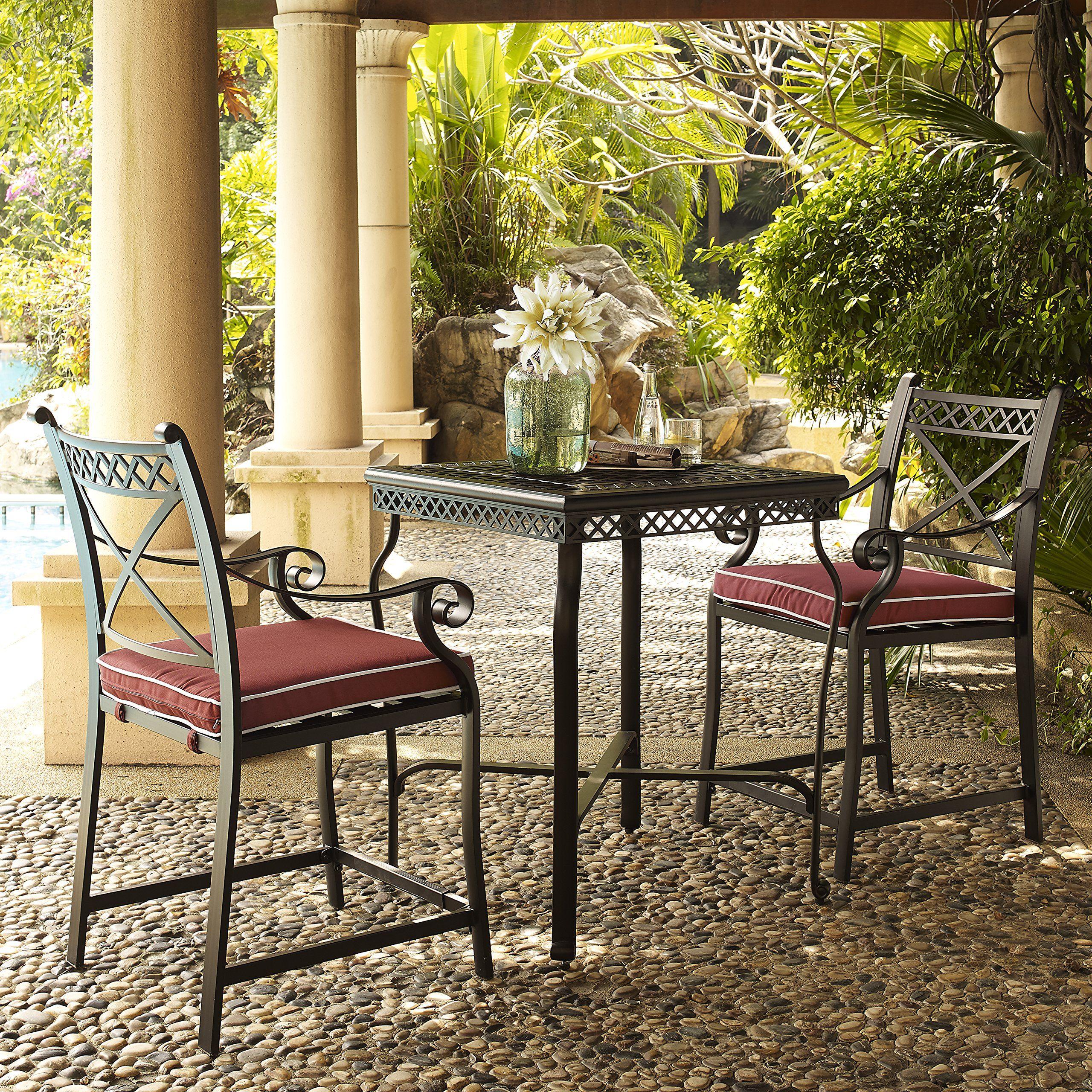 Charmant Crosley Furniture Portofino 3Piece Outdoor Aluminum BarHeight Bistro Set  With Sangria Cushions Black U003eu003eu003e Read More Reviews Of The Product By  Visiting The ...