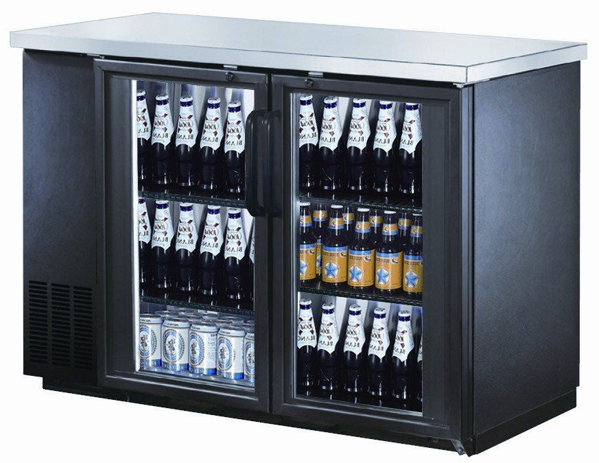48 Double Glass Doors Back Bar Beverage Cooler