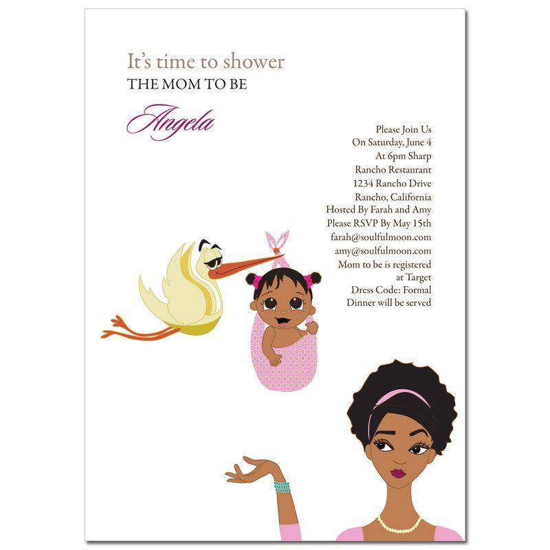 stylish mom baby shower invitations - african american | baby, Baby shower invitations