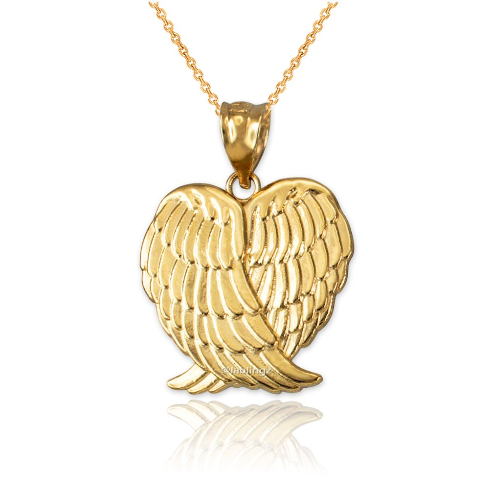 Yellow Gold Angel Wings Pendant Necklace In 2020 Pendant Necklace Gold Angel Wings Angel Wing Pendant