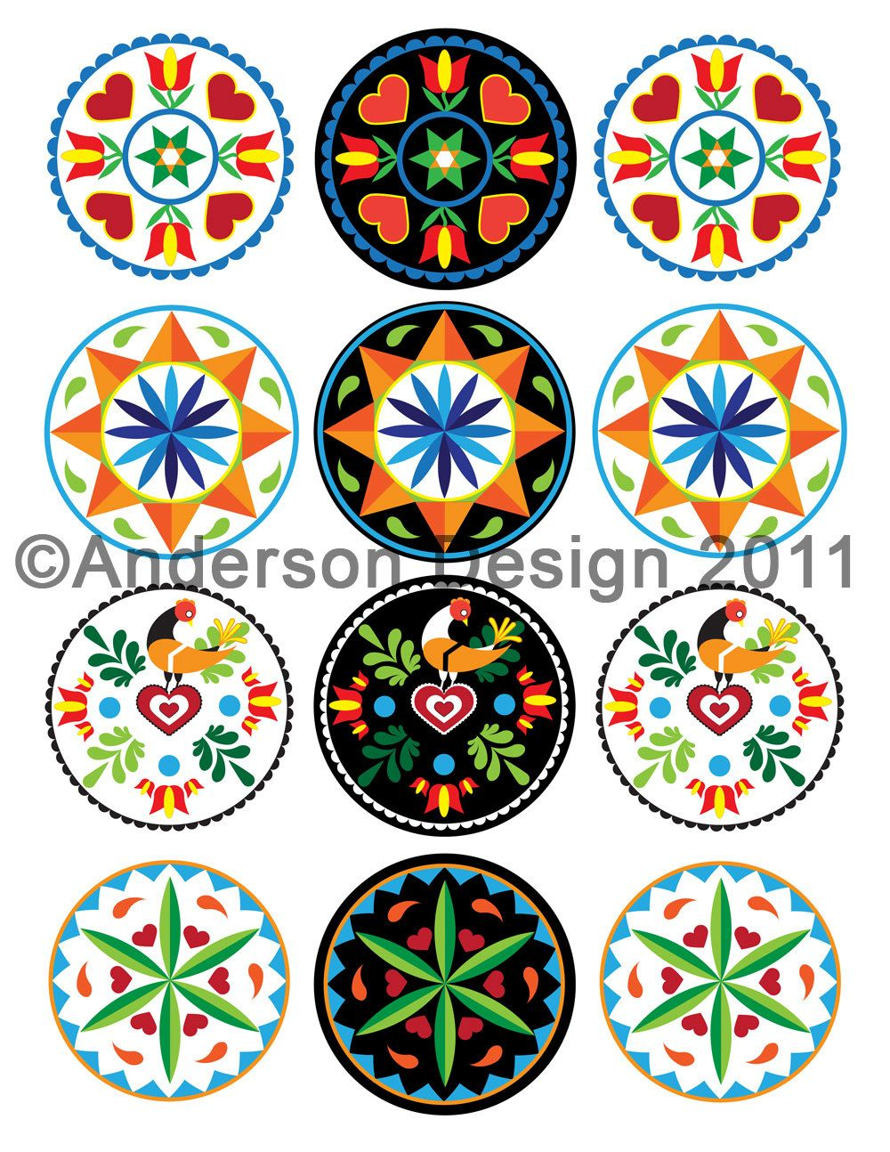 Pennsylvania dutch inspired 25 inch round hex sign printable etsy biocorpaavc Images