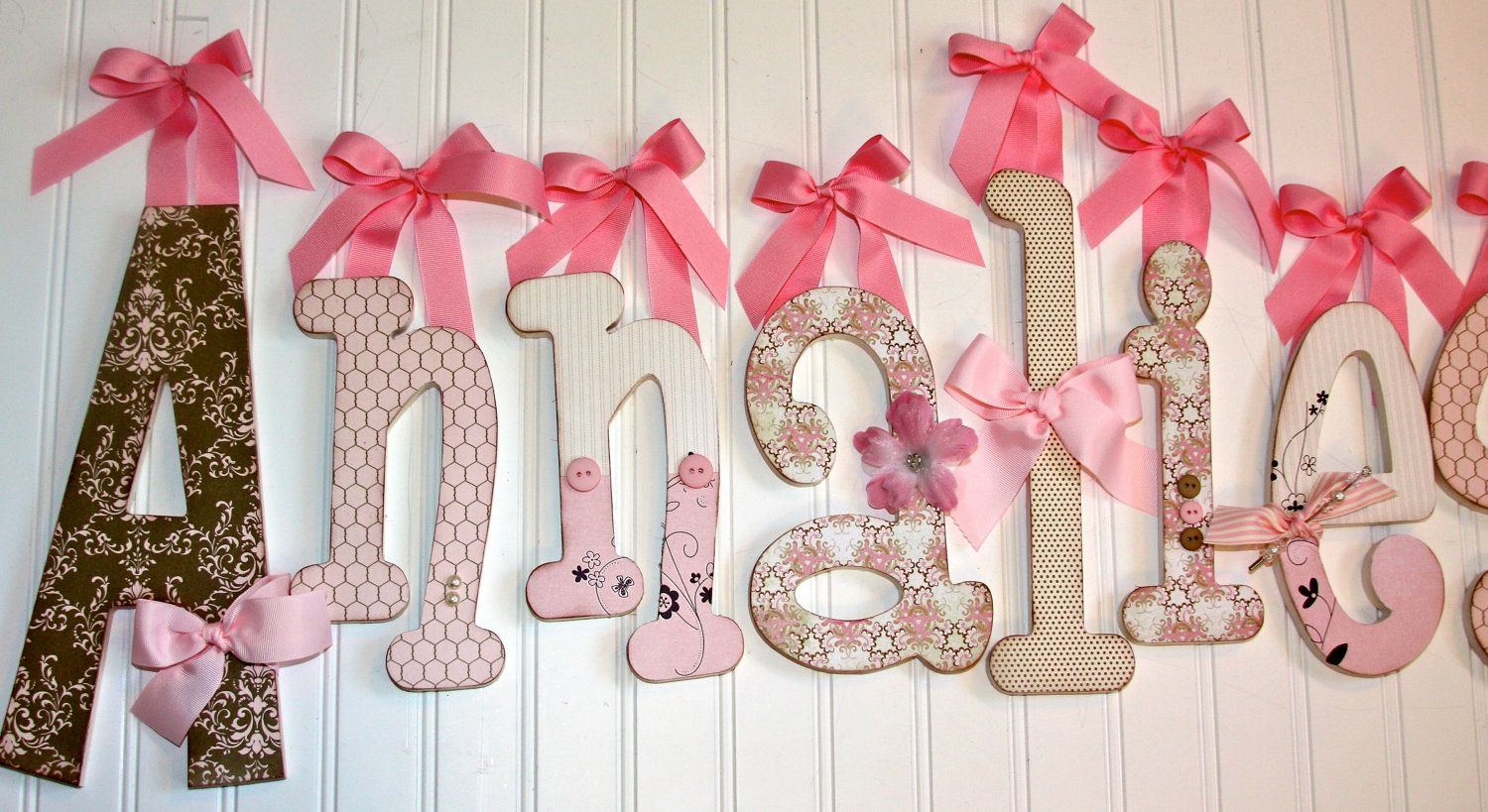 """Anna"" idea: 9 - 10"" Wooden Letters - Wood Nursery Letters - Wood Letters"