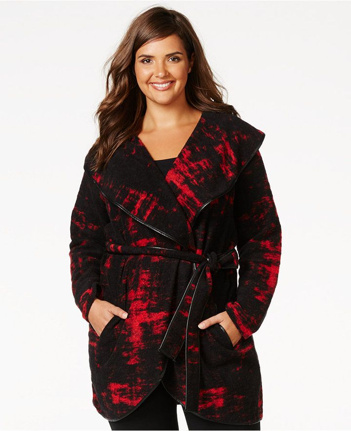 8b04cc83024 INC International Concepts Plus Size Belted Wrap Blanket Coat