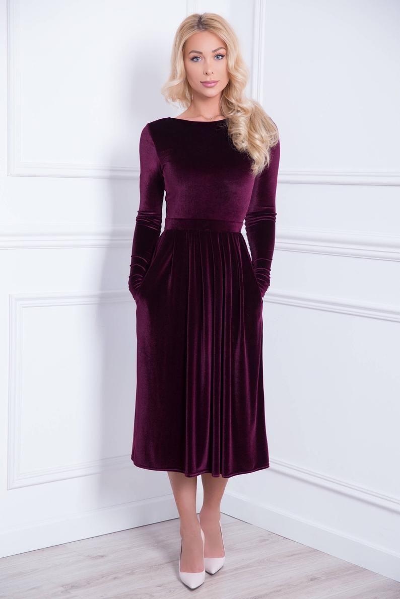 Mid Calf Velvet Party Bridesmaid Dark Purple Dress V Back Long Sleeves Pockets Waistband Sash Dark Purple Dresses Long Sleeve Midi Dress Velvet Midi Dress [ 1190 x 794 Pixel ]