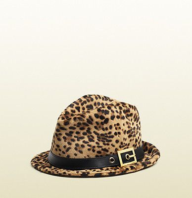 d13051430 GUCCI Fedora Cappello Donna Pony Leather Hat Jaguar Print Size Small ...