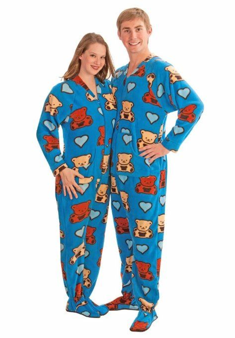 Teddy Bear Fleece Footed Pajamas with Drop Seat for ...