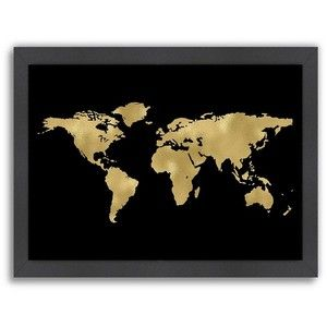 Americanflat world map framed wall art black and gold pinterest americanflat world map framed wall art gumiabroncs Images