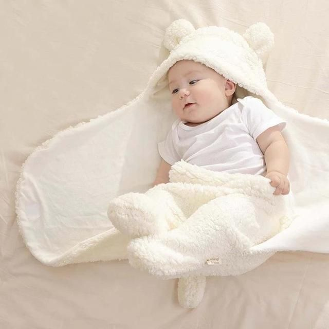 Newborn Cartoon Fleece Sleeping Blanket Infant Baby Lovely Wrap Swaddle