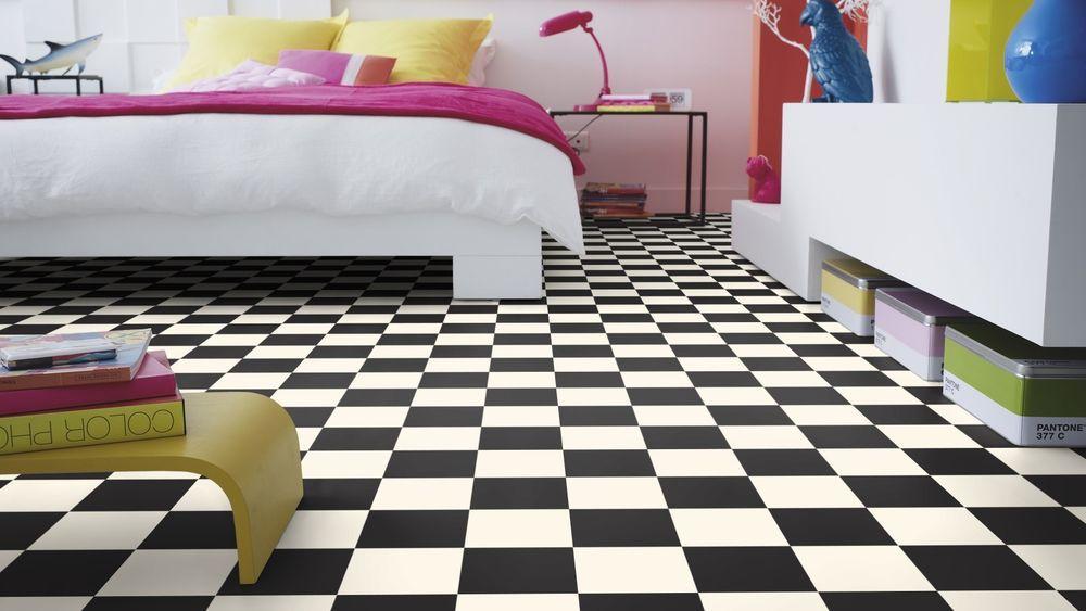 Pavimento in pvc dama bianco nero adatto per camere spess mm