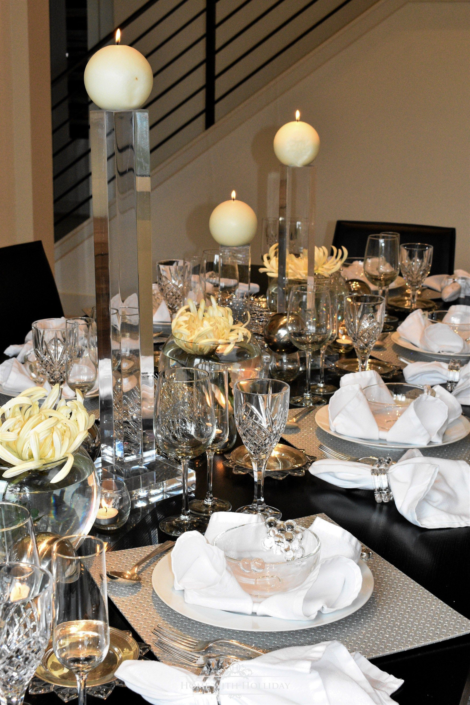 Silver and White New Year's Eve Table Setting Table