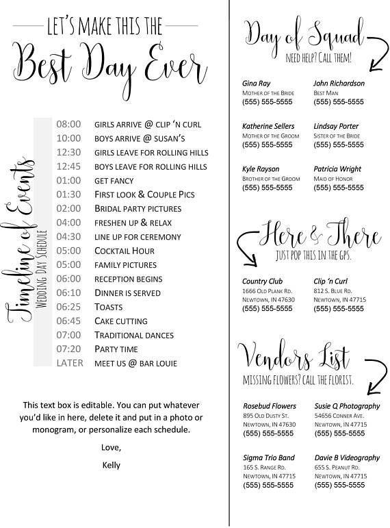 Editable Wedding Timeline Edit In Word Phone Numbers And Day Of Schedule Bridal Parties Header