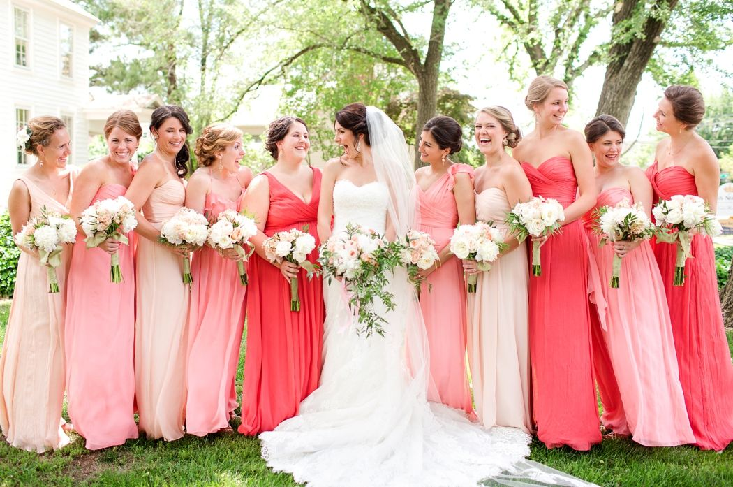 Coral pink peach nude bridesmaids dresses different colors for Different colored wedding dresses