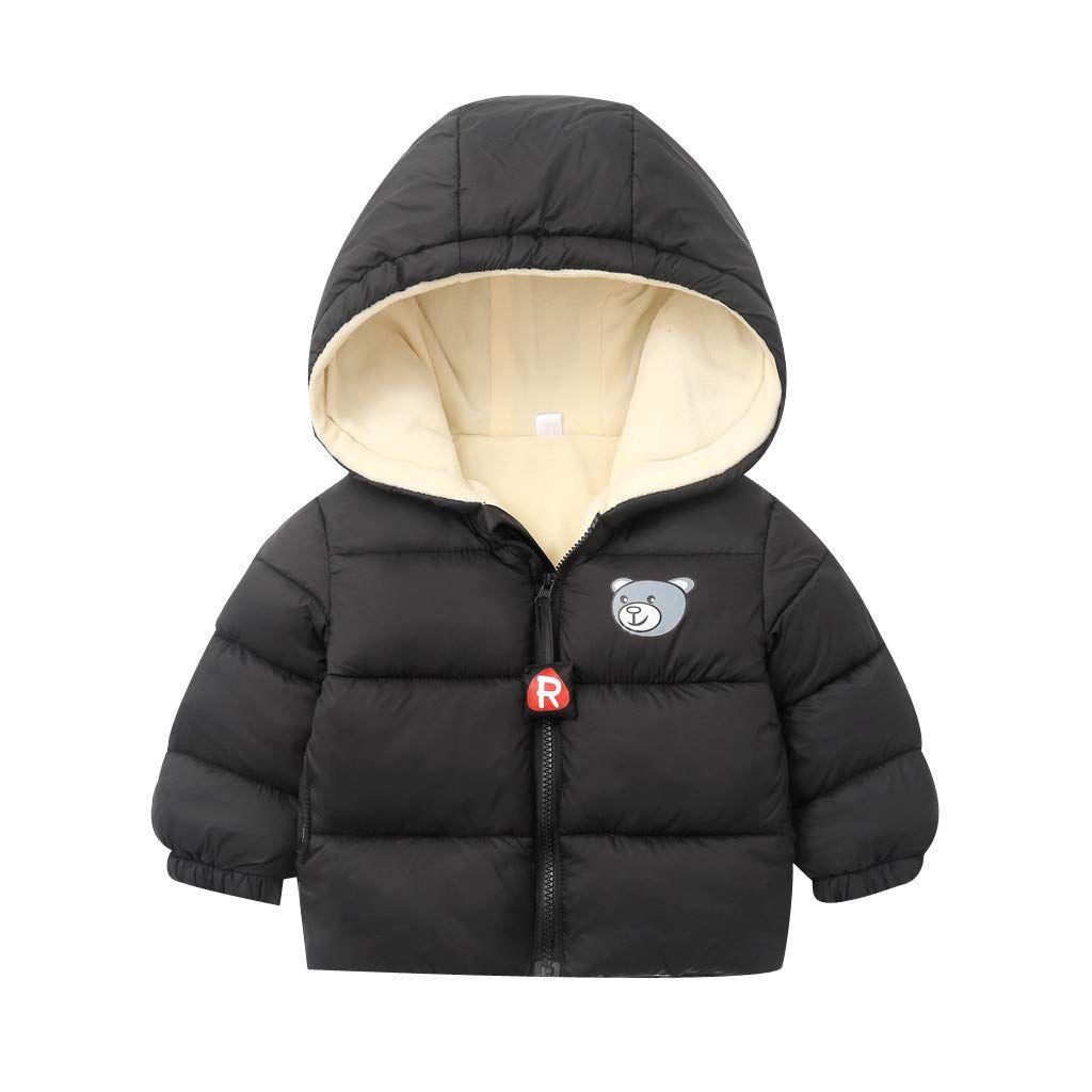 Chlidren Boy Girl Winter Coats Jacket Thick Ears Snow Hoodie Outwear Overcoat UK