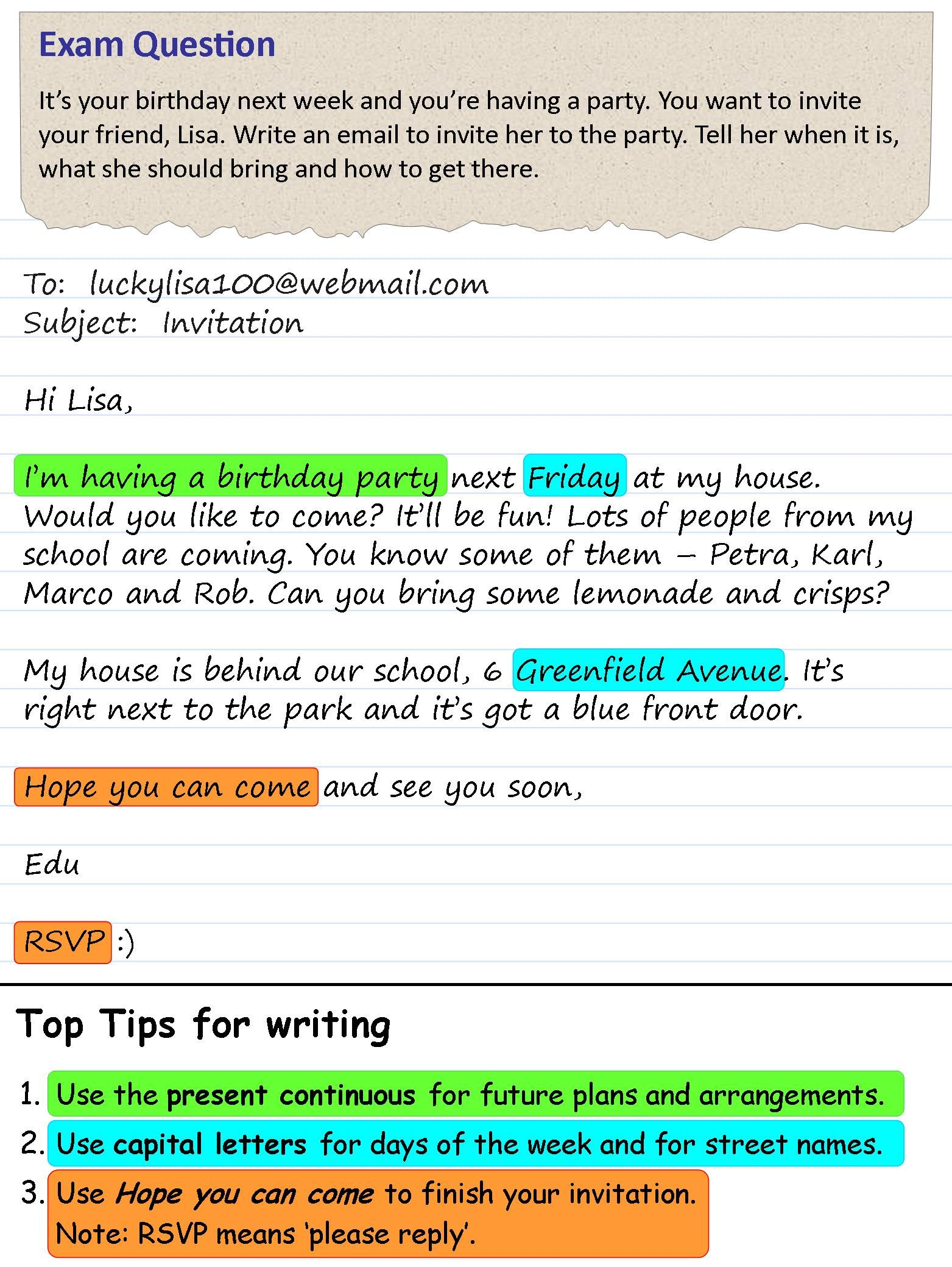 An invitation to a party Writing skills, English writing
