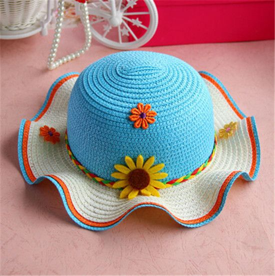 e13f1c3a20d Colorful sunflower straw hat summer flounce sun protection beach hat for  kids