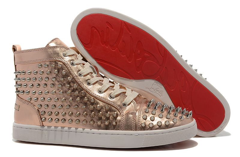 Christian Louboutin Louis Spiked Hi-Top Sneakers Bronze