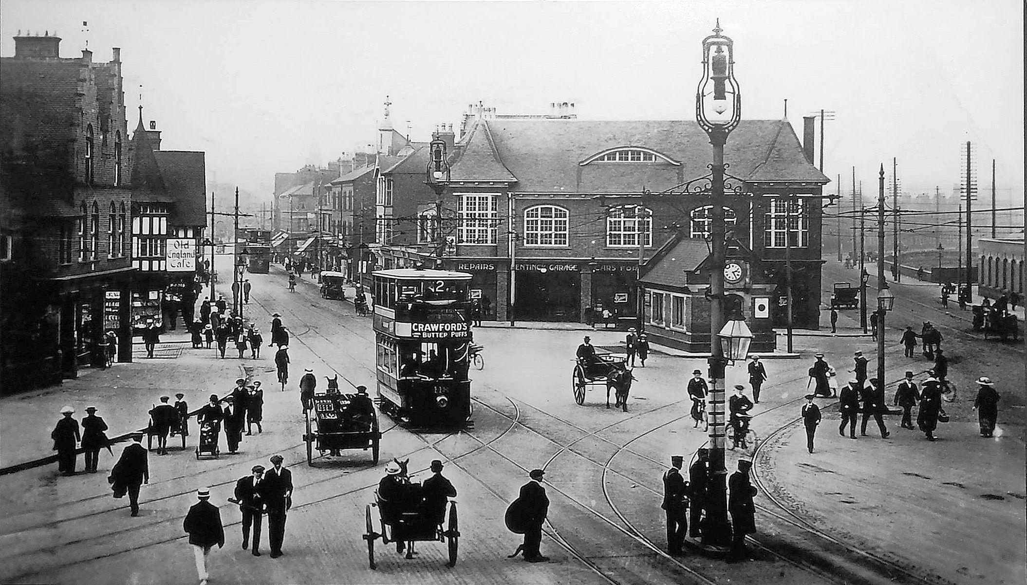 Arkwright Street and Trent Bridge tram terminus, Nottingham, c1920.