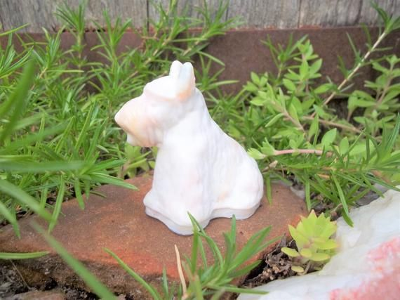 White Milk & Orange Opaque Slag Marble Glass Scottie Scotty Dog Figurine Collectible Knick Knack Paperweight #knickknack