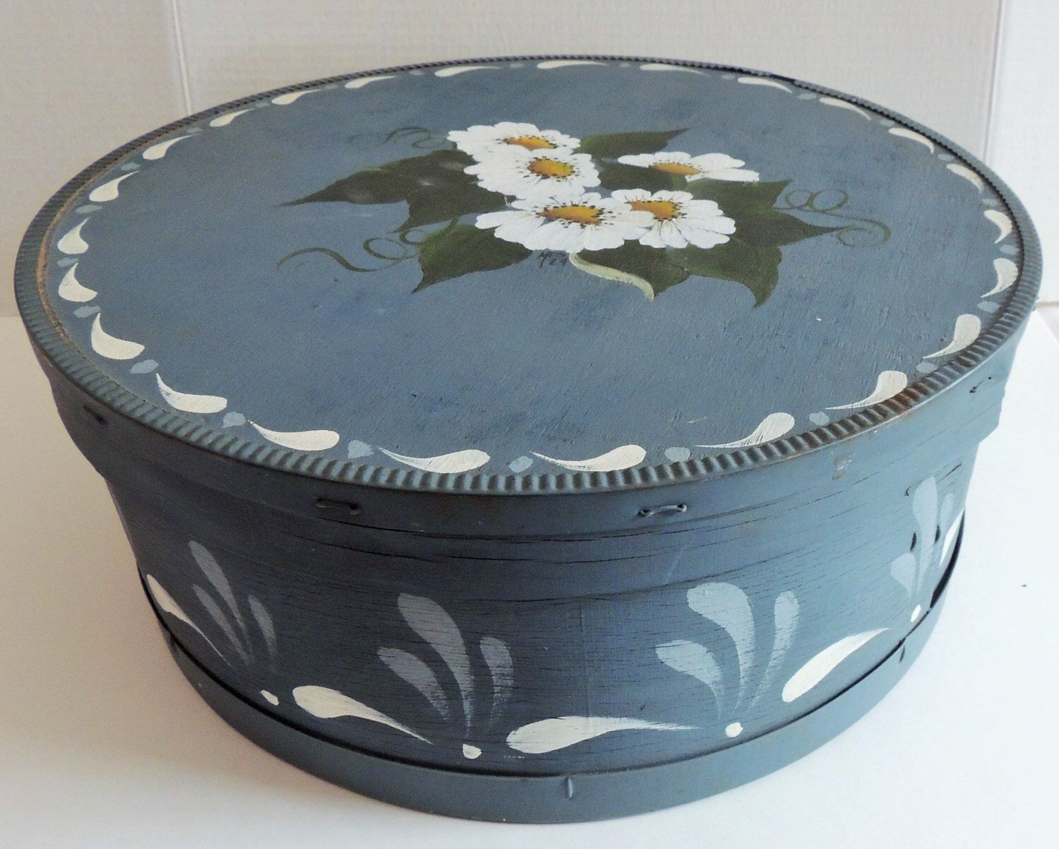 Hand Painted Wood Cheese Box Vintage Folk Art Decorative Wood Storage Box Tole Painted Artist Signed And Dated 1984 by vintagelema on Etsy https://www.etsy.com/listing/196472108/hand-painted-wood-cheese-box-vintage