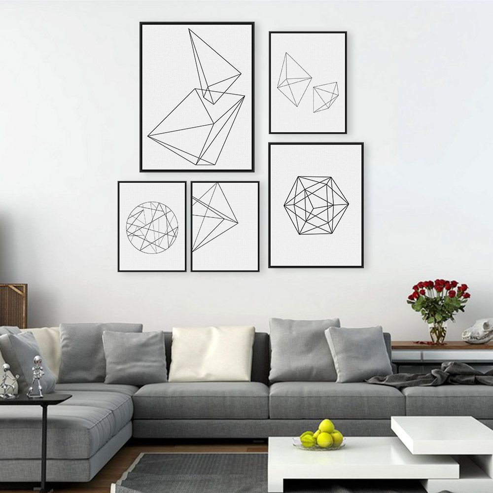 Geometric Design Wall Art : Modern nordic minimalist black white geometric shape a