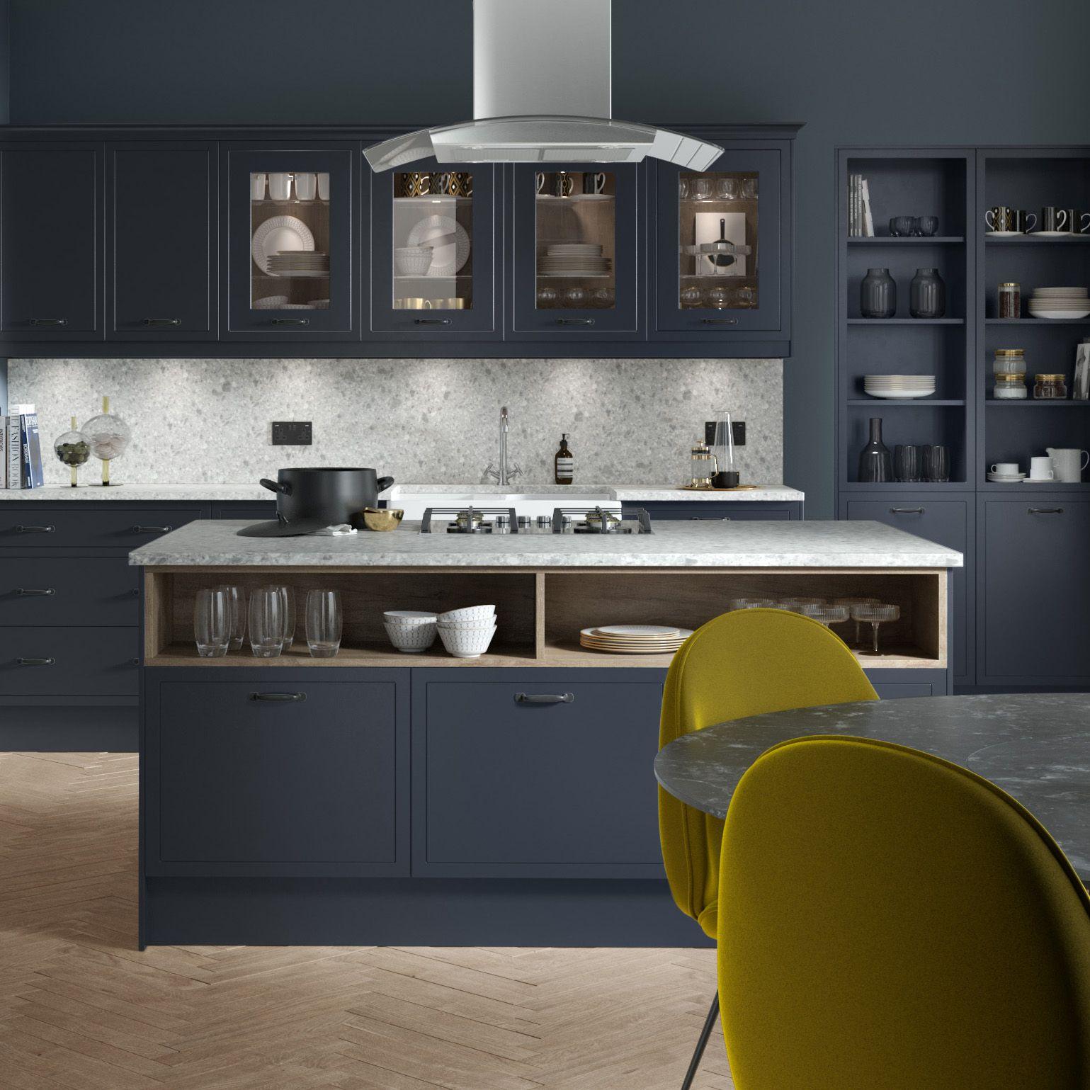Sleek metallics, marble worktops and glass fronted
