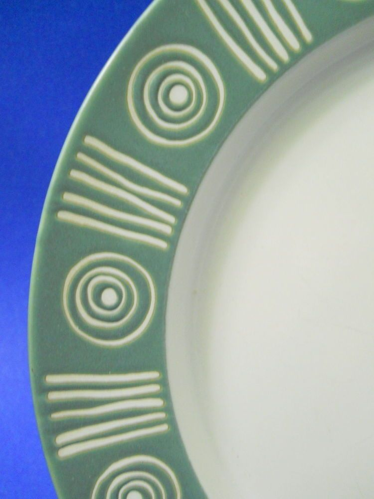 Pottery Barn Bongo Dinner Plate Sage Green White Texture Lines ...