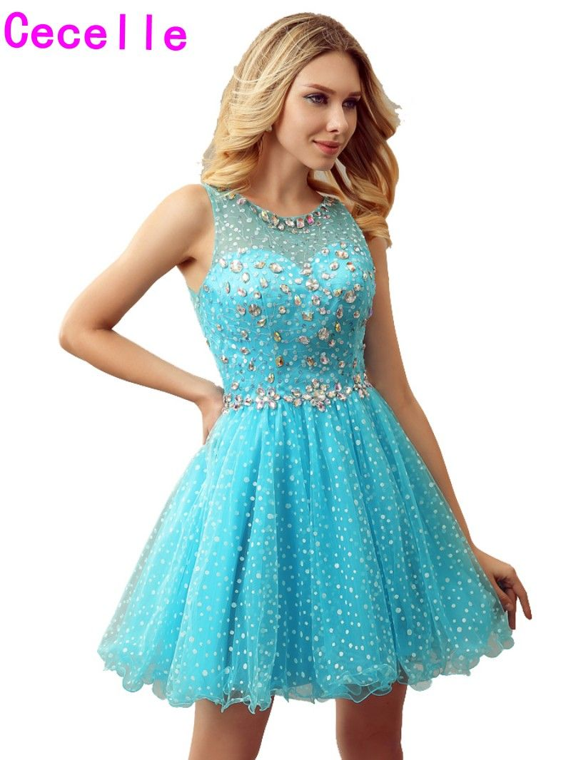 Sparkly blue a line short girls cocktail dresses for juniors crystal