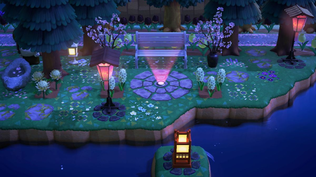 Seating Area Animal Crossing Pink Lanterns Trees To Plant