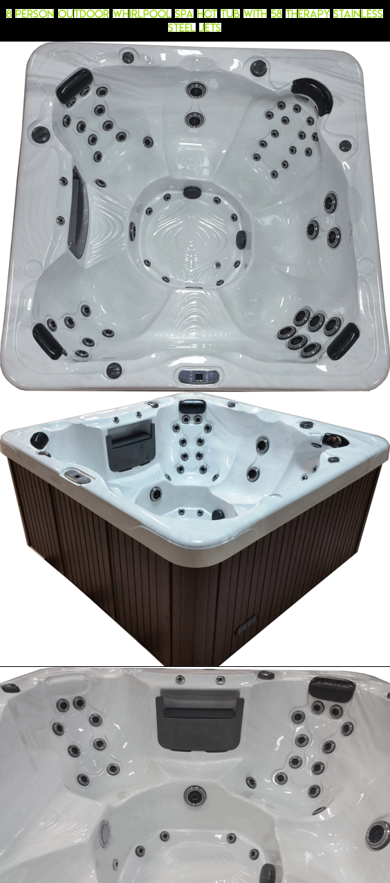 8 Person Outdoor Whirlpool Spa Hot Tub with 58 Therapy Stainless ...