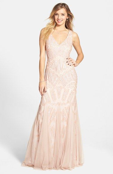 Adrianna+Papell+Beaded+Mesh+Inset+Gown+available+at+#Nordstrom