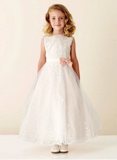 A-Line/Princess Scoop Neck Ankle-Length Satin Tulle Flower Girl Dress With Lace
