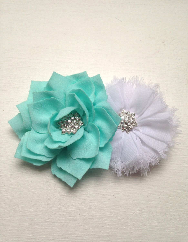 Aqua Corsage White Corsage Wedding Corsage Flower Girl Corsage
