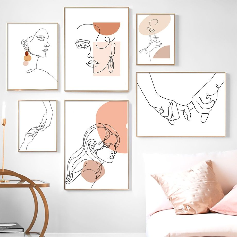 Abstract Girl Simple Woman Colored Lines Wall Art Canvas Painting Nordic Posters And Prints Wa Wall Art Canvas Painting Simple Canvas Paintings Simple Wall Art