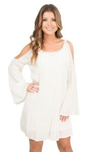 HYFVE by Double Zero Ivory with Crochet Detailing Cold Shoulder Long Sleeve Dress | Cavender's