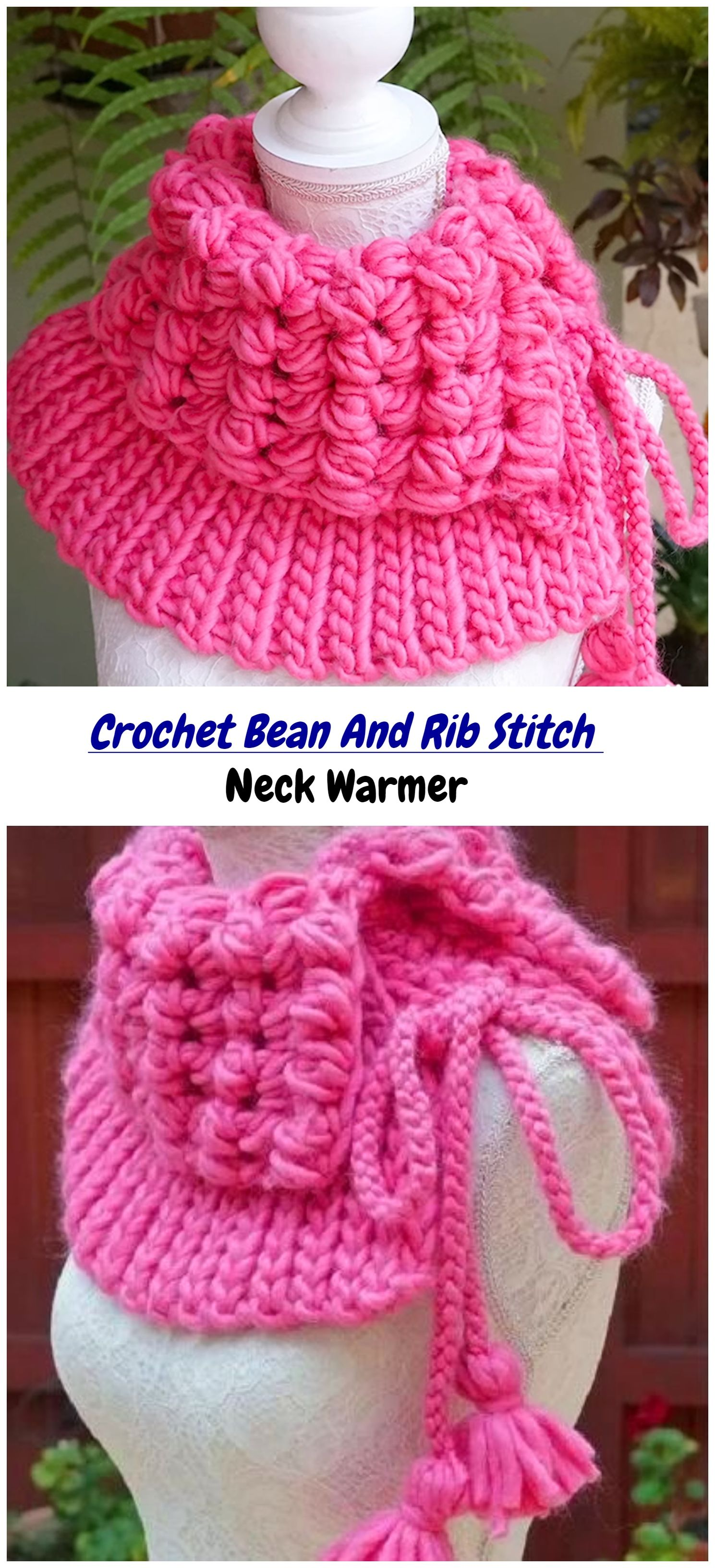 Crochet Bean And Rib Stitch Neck Warmer Crafts Crochet