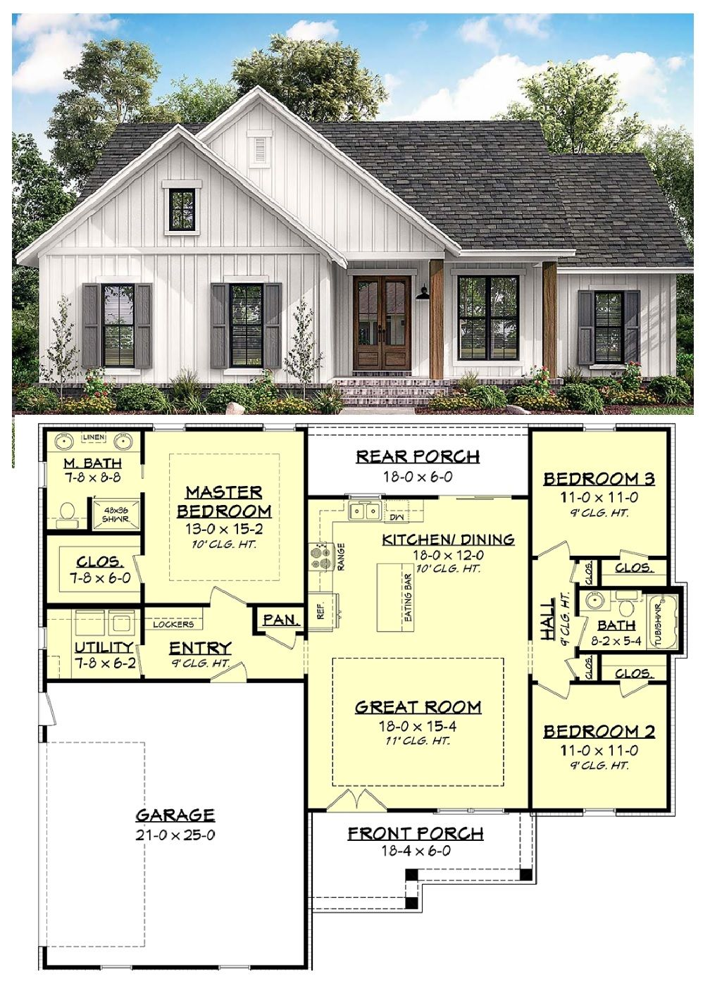 New House Plan Country Style Home With 3 Bedrooms And 2 Bathrooms In A 1400 Square Foot Floor Plan In 2020 House Plans Country House Plans Farmhouse Plans