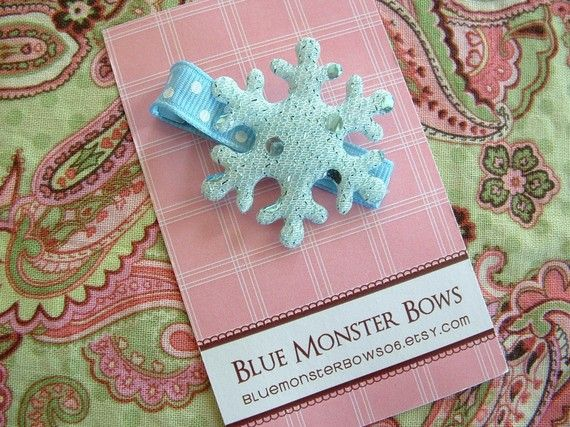 ONE DOLLAR CLIP Blue Snowflake Hair Clip No by BlueMonsterBows06, $1.00