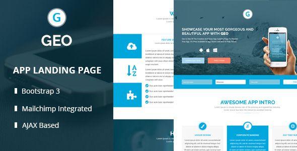 GEO - Responsive Multipurpose Bootstrap 3 App Landing Page Template ...
