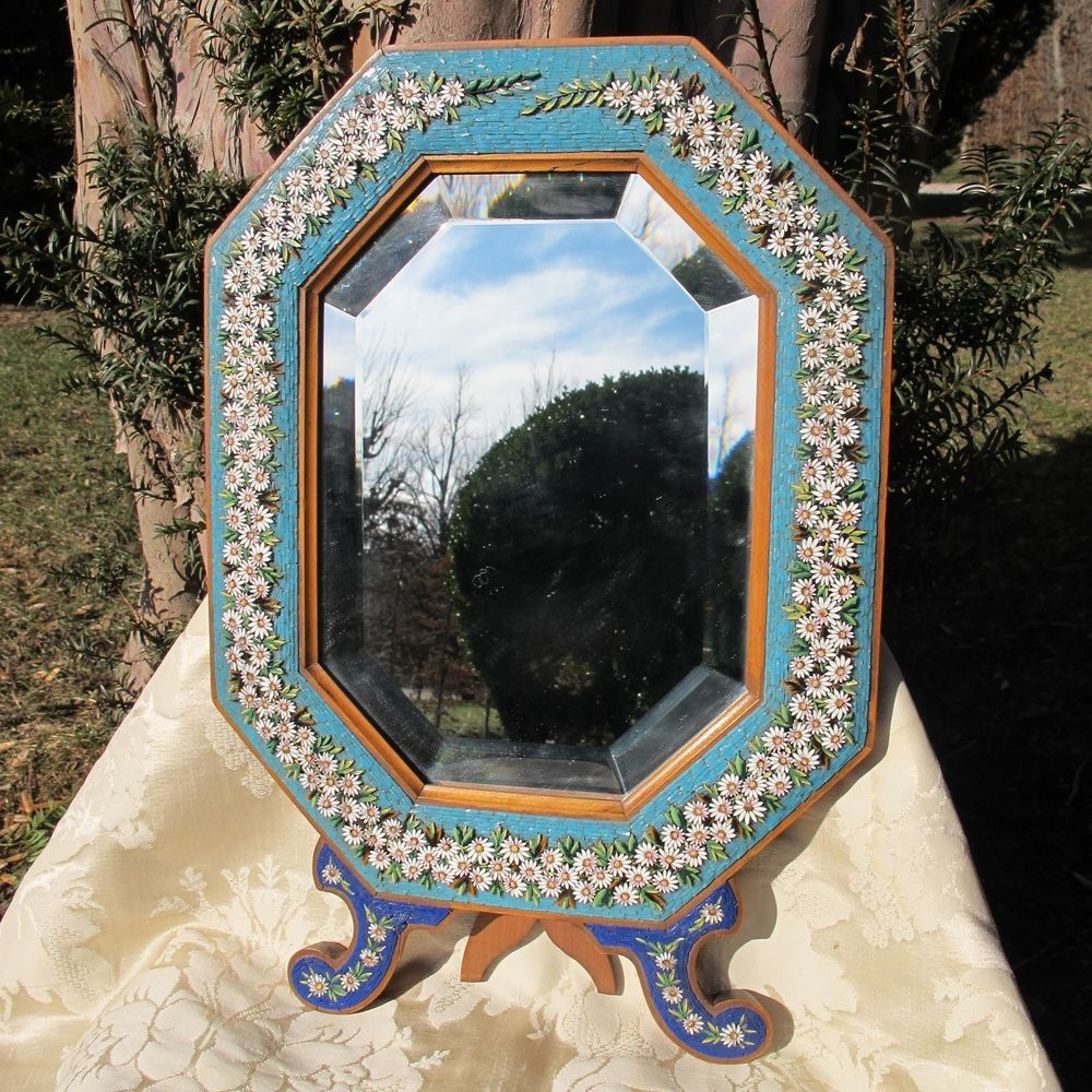 Antique  Octagonal Micro Mosaic mirror, 19th century