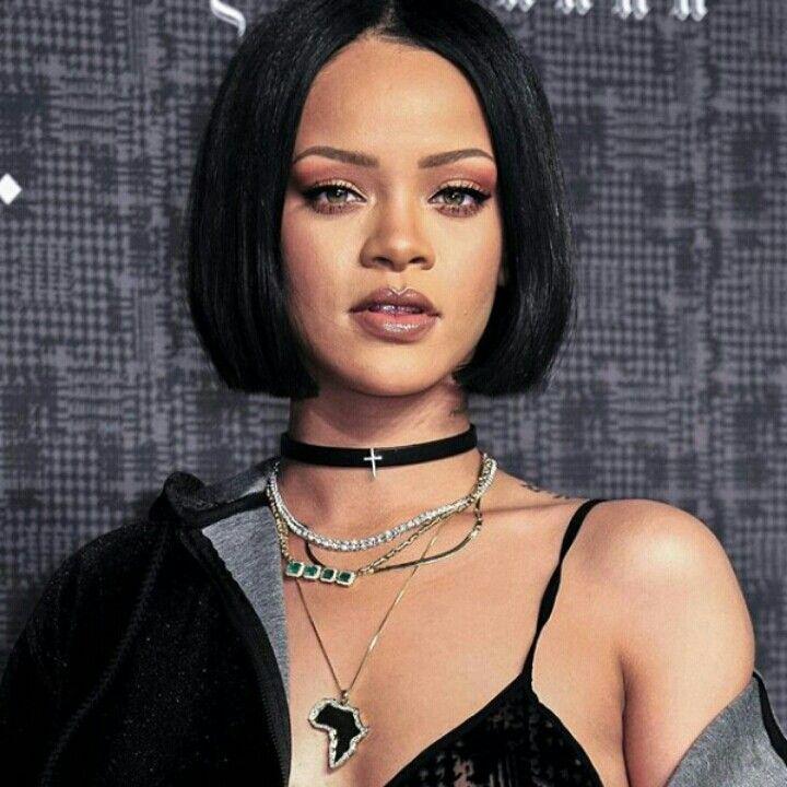 Rihanna Cute Chin Length Bob W Bangs Short Bob Haircuts Short Bob Hairstyles Bob Hairstyles