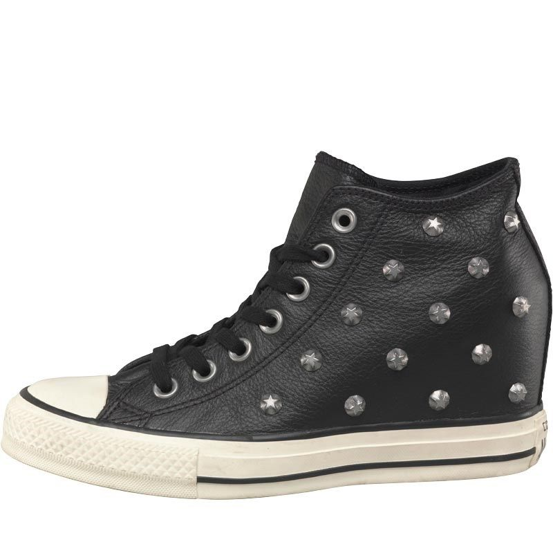 1536f04eb7e1 Converse Womens CT All Star Mid Lux Leather Trainers Black White ...