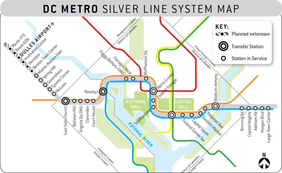Washington DC Metro Silver Line | System map, National mall, Map